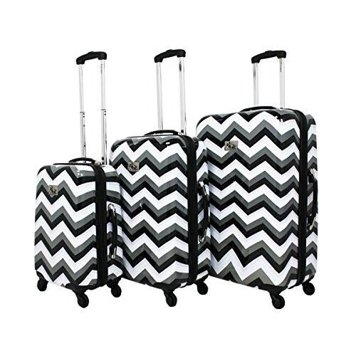 All-Seasons Chevron Print 3-Piece Upright Spinner Luggage Set Black /& White