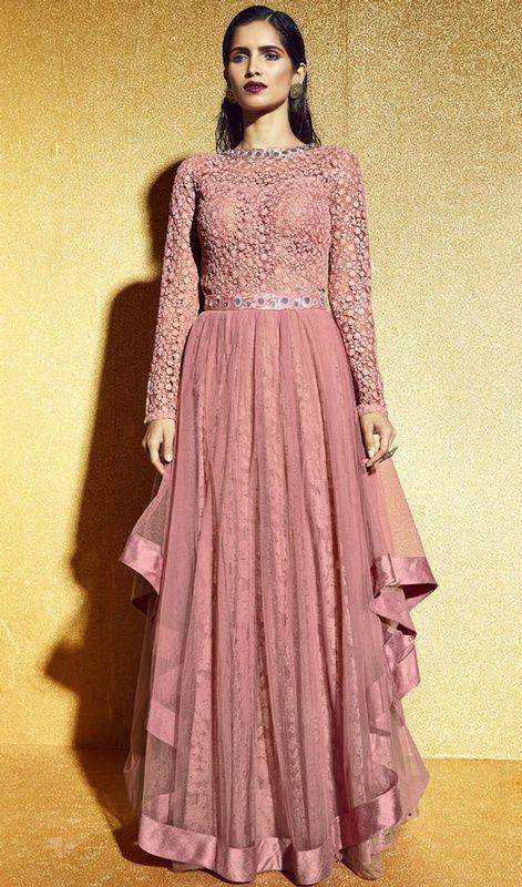 Salmon Color Net Embroidered Floor Length Anarkali Suit