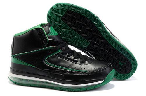 $89.98 Cheap high quality Men's Nike Air Max Jordan 2 Shoes Black/Green/ White