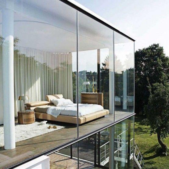 25 Daring Glass Bedroom Design Ideas Digsdigs 25 Daring Glass Bedroom Design Ideas Rumah Arsitektur Desain Arsitektur Arsitektur Interior