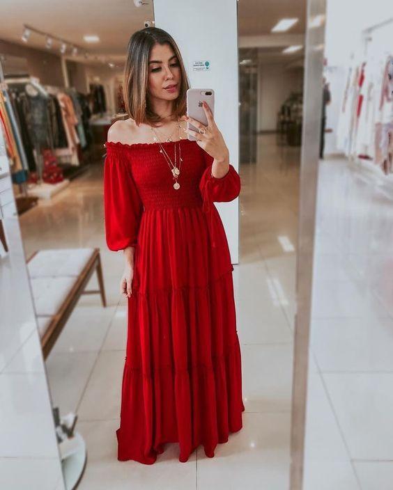 Vestidos Bufante vermelho paixão