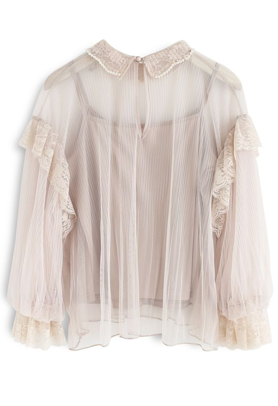 It's About Love Pearls Mesh Top in Nude Pink pink S/M