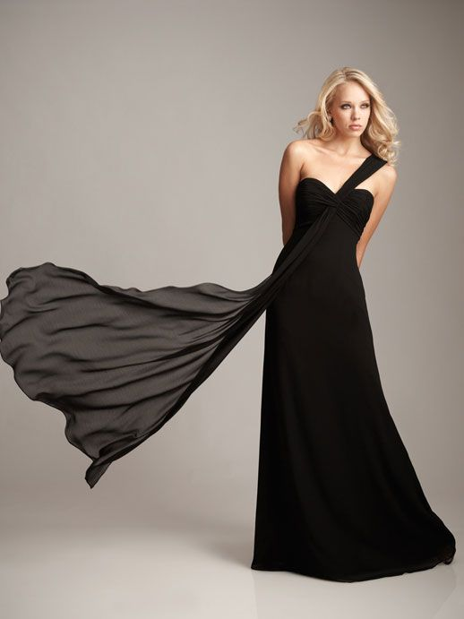 One shoulder chiffon bridesmaid dress with empire waist