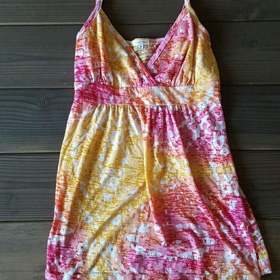 Maurice's Tank Multi colored tank of pink, orange, yellow and white. Burnout like material. Adjustable straps. Maurices Tops Tank Tops