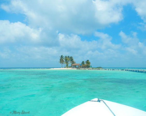 Goff's Caye Belize as seen from boat Fine Art by LifeTravelPhotos, $30.00