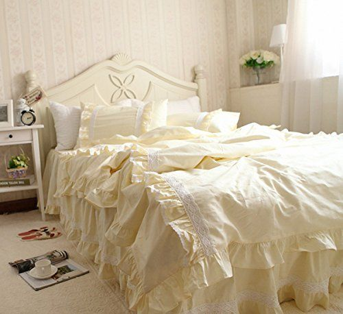 Idyllic Life Ruffle Frill And Lace 100 Cotton Light Yellow Duvet Cover Set Full Duvet Covers Yellow Duvet Cover Sets Bedding Set