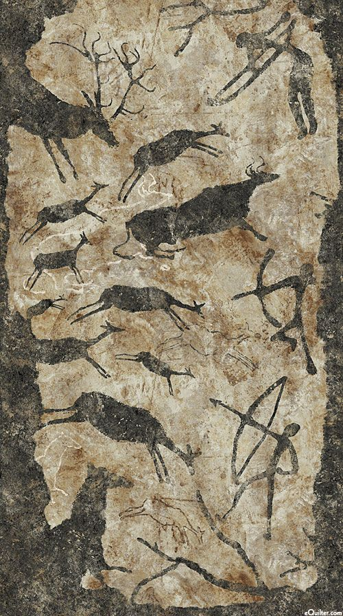 """Stonehenge Primitives - Cave Paintings - Taupe - 24"""" x 44"""" PANEL"""