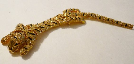 Rhinestone Encrusted Articulated Tiger Shoulder Pin with Enameled Stripes-7 Inch