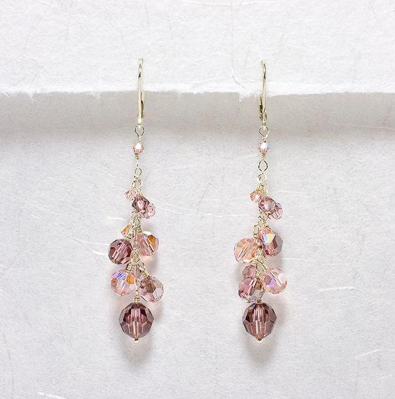Vintage Rose Crystal Twilight - Bridesmaid Earrings