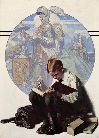 Norman Rockwell: Boy Reading Adventure Story: