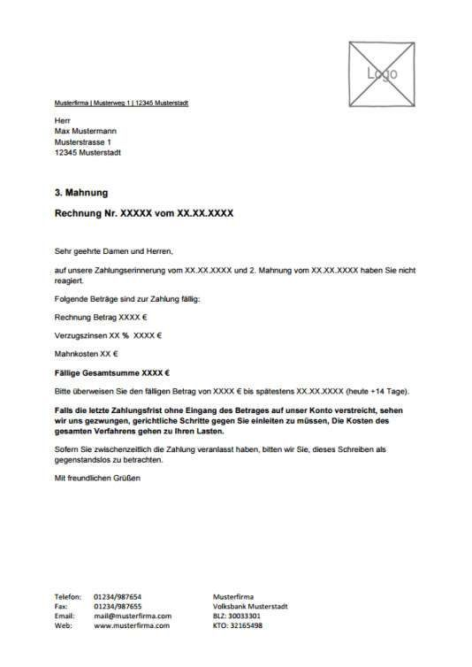 Letzte Mahnung Vorlage Kostenlos In 2020 Vorlagen Word Vorlagen Rechnungen Schreiben