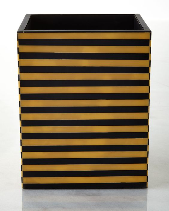 Vail Wastebasket, Black/Brown - Kassatex