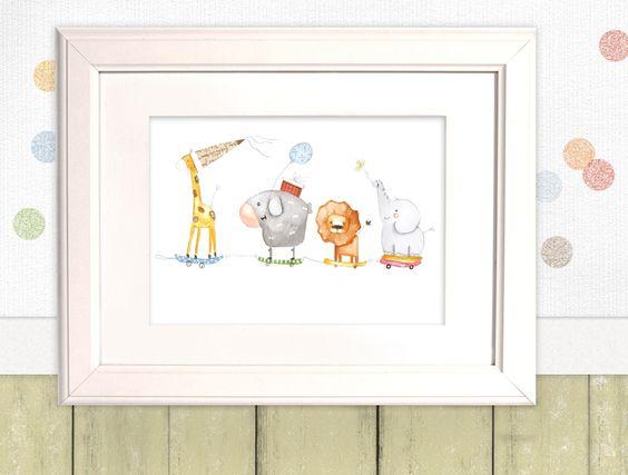 """Bilder - Kinderbild """"Tierzug""""  - ein Designerstück von pipapier bei DaWanda"""