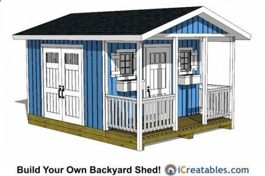 12x16 Backyard Shed With Porch Shedplans In 2020 Shed With Porch Shed Design Shed Plans 12x16