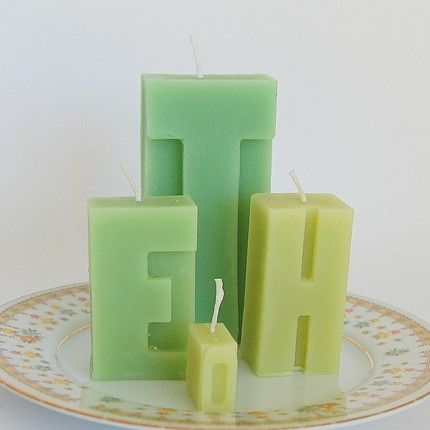 Letterpress Candles: handmade from molds of vintage letterpress blocks. Cute!