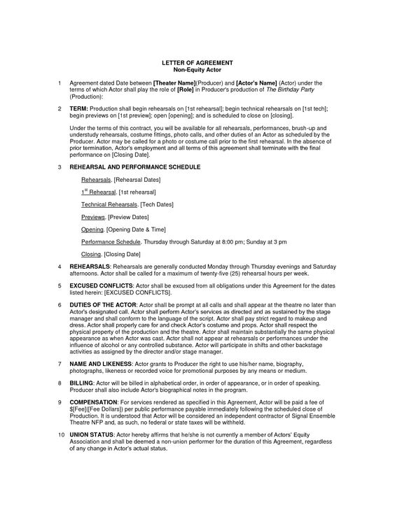 actor contract Cape Ann Improv Pinterest - production contract agreement