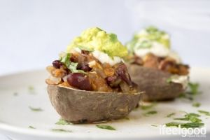 baked sweet potato with chili beans, guacamole & cashew sour cream ...