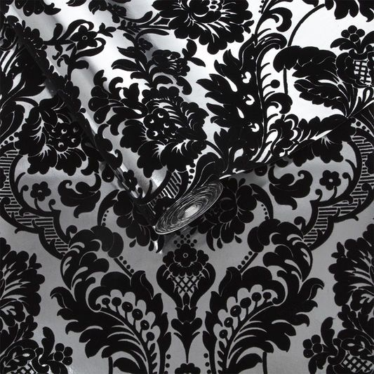 Gothic Damask Flock Black Silver Wallpaper Graham Brown Uk