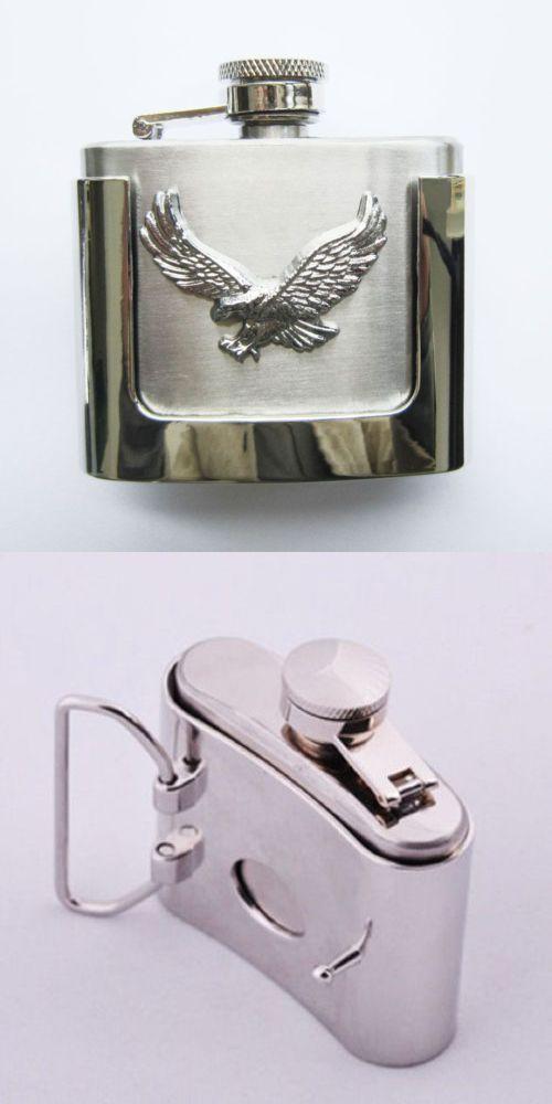 Flask Flying Eagle Western Metal Removable Belt Buckle Alcohol Drink 2 oz