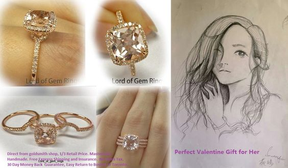 $588: Cushion peach morganite engagement ring, raved by customers since its debut