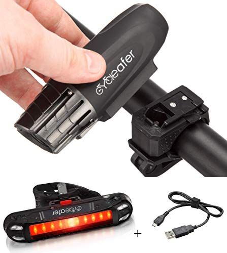 Cycleafer Bike Lights Set Usb Rechargeable Cycling Light Super