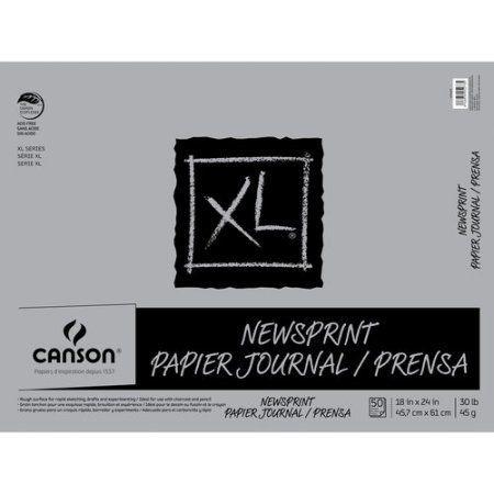 Canson XL 18 inch x 24 inch Newsprint Pad, 50 Sheets