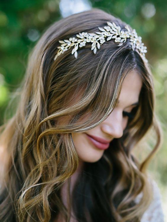 Light Gold and Rum Pink Leaf Bridal Headband Envogue HB1712 - Affordable Elegance Bridal -