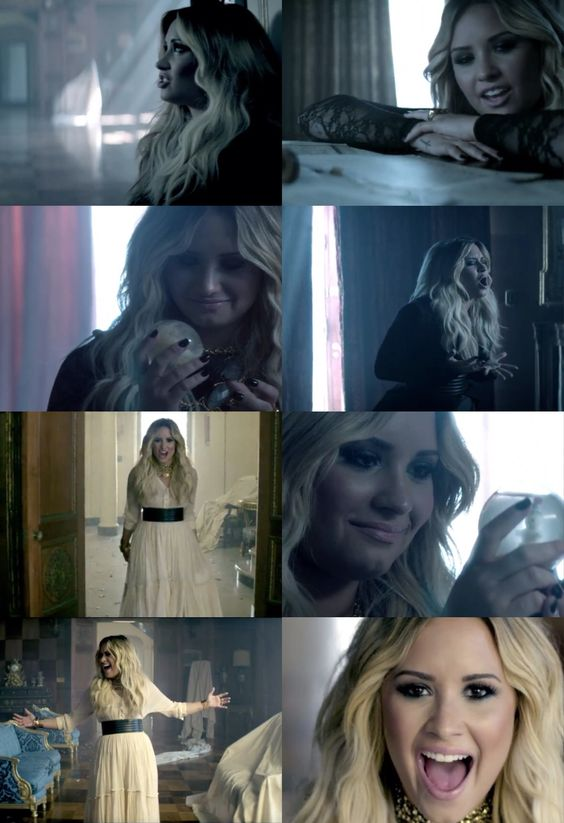 Demi lovato - let it go. My summary of this music video: half commercial for the movie half look at how pretty Demi is :) <---not that there's anything wrong with the last part ❤: