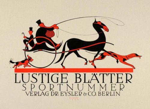 Designersgotoheaven.com -1931 two-color lithograph mini poster of a 1904 advertising poster for a german magazine byJulius Klinger.  (viaSusanlenox)