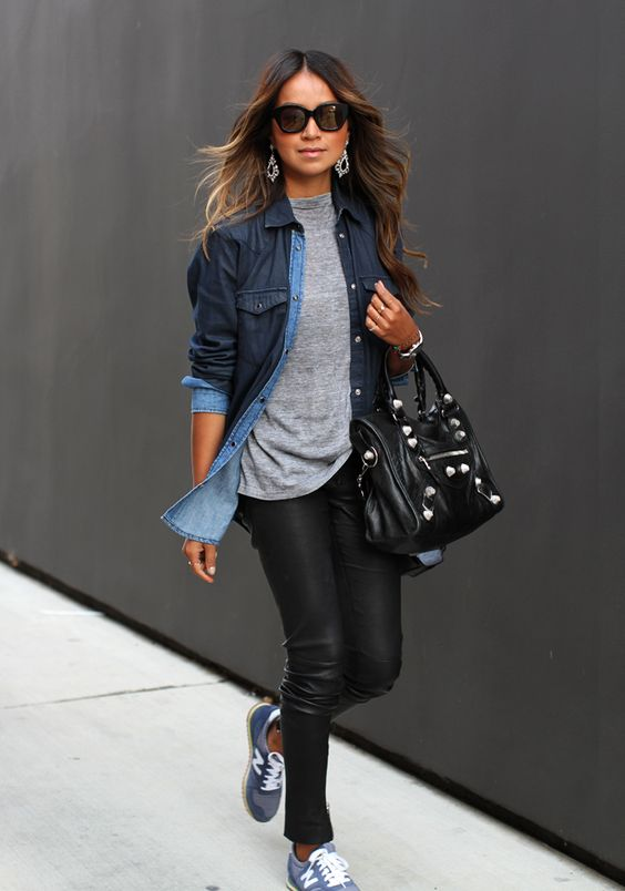 Chambray, leather and new balance kicks - Sincerely Jules:
