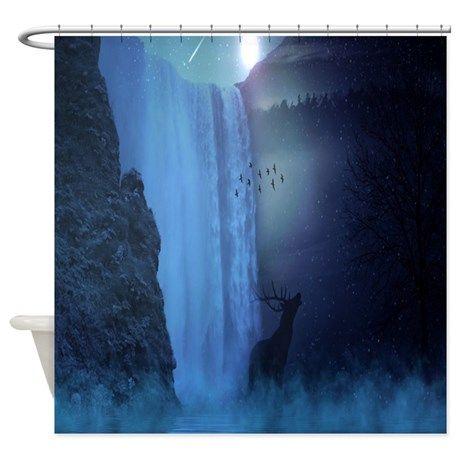 Mystical Waterfall with a Deer Shower Curtain | Curtains, A deer ...