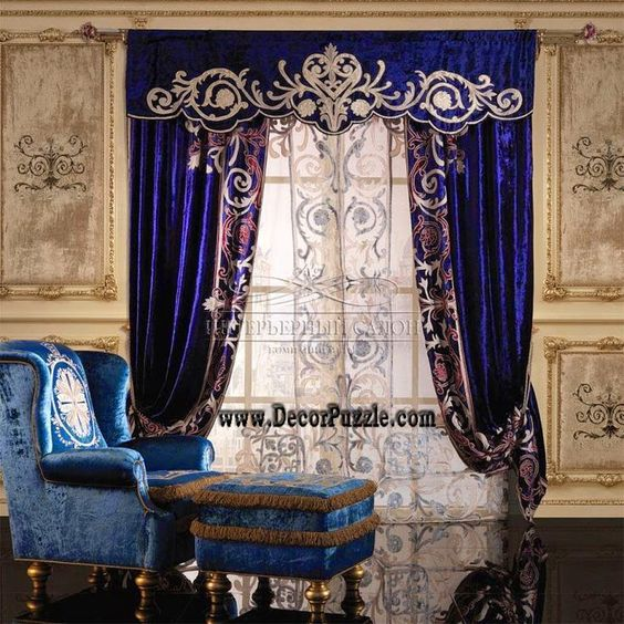 Blue french country curtains valances for royal interior design 2015jpg 736736