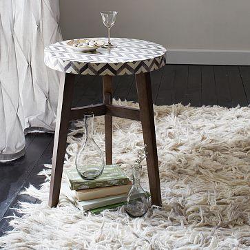 "Chevron Bone Side Table #westelm, $199, 17""diam. x 22""h, Bone-tile and engineered wood tabletop."