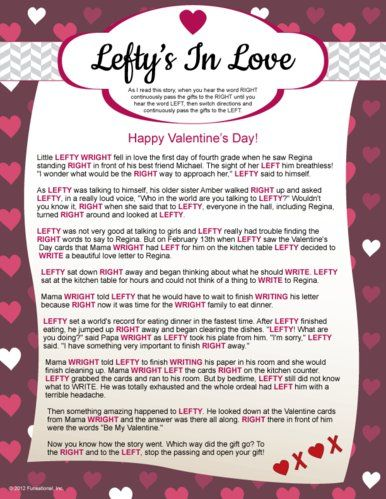 Fun #Valentine's Day Printable Games: Lefty's in Love