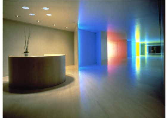 "Vignelli   Hauserman Showroom. Los Angeles. 1982. Movable walls creating a series of corridors, each with a different light installation by the artist Dan Flavin. ""It was an incredible experience, a great art installation."""