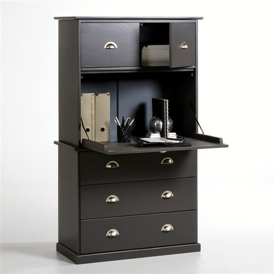 secr taire biblioth que pin massif betta fils s rum et lieux. Black Bedroom Furniture Sets. Home Design Ideas