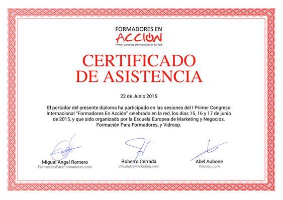 2015 Certificado de Asistencia al Congreso FEA Formadores en Acción con otros Profesores Tutores Reconocimiento para Alejandro Pérez Irús AlejandroPI Alejandro Perez Irus Mentor Médico Inmobiliario Coaching Inmobiliarias