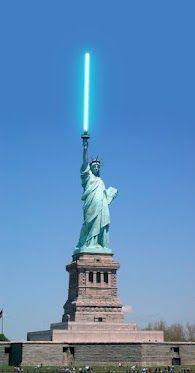 Enlight the world! #starwars #lightsaber #statueofliberty