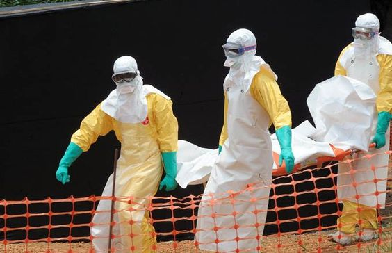Image: Doctors Without Borders staff carry the body of a person killed by viral haemorrhagic fever at a center for victims of the Ebola virus.