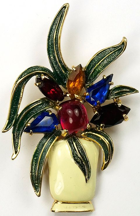 Eisenberg Original Gold Gems and Enamel Flowering Agave in an Enamel Vase Pin