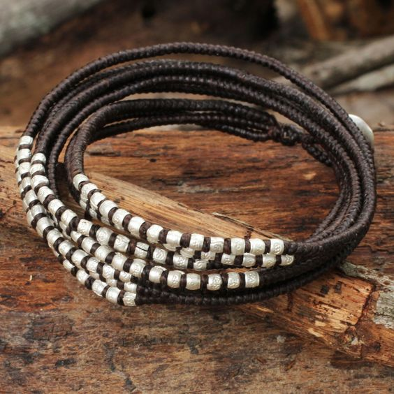 Silver Accents Wrap Bracelet Hand Knotted Jewelry - Karen Brown Chic | NOVICA