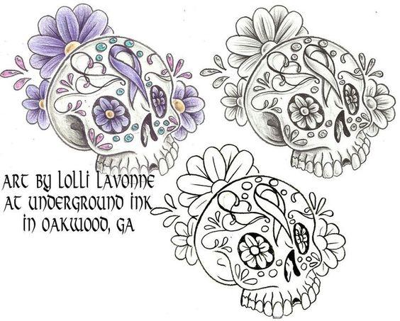 sugar skulls breast cancer awareness - Google Search