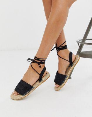 Asos Design Josy Woven Espadrille Flat Sandals In Black Asos Avec Images