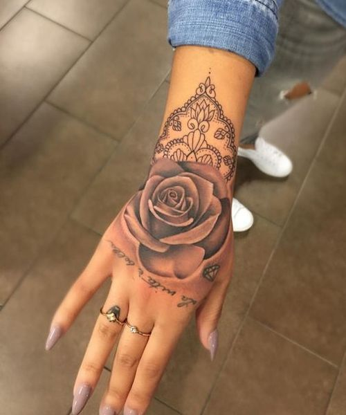 Amazing Flower Tattoos On Back Of The Hand For Girls Forearmtattoos Tattoos Hand Tattoos Rose Hand Tattoo