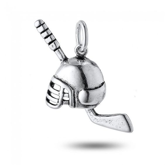 Ice Hockey Stick and Helmet charm in Sterling Silver (24 x 24mm)