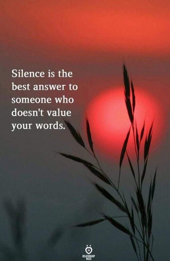 Silence Is The Best Answer To Someone Who Doesn T Value Your Words Motivational Memes My Silence Quotes Silence Quotes Motivatinal Quotes