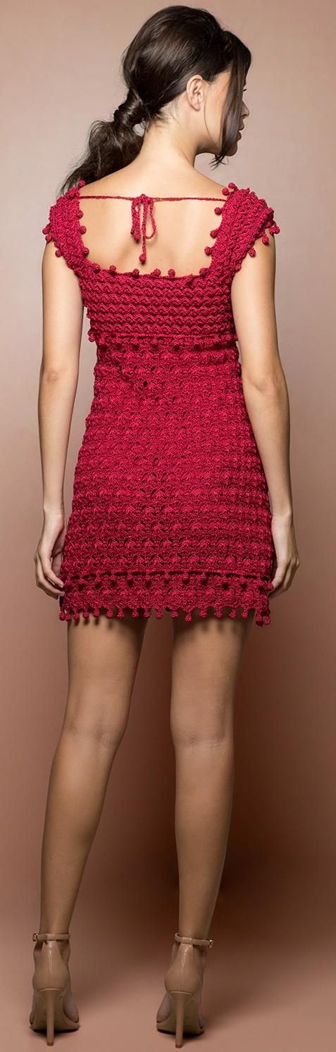 Vanessa Montoro uses popcorn stitches to good effect in this red crochet dress.