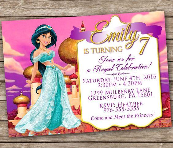 Invitación de princesa Jasmine Disney jazmín por PrintzNThings