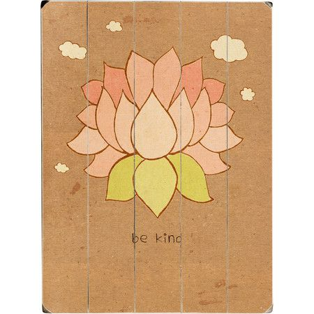 Complete a Zen-inspired gallery wall with this planked wood decor, featuring a lotus print in a sketch style.  Product: Wall dec...