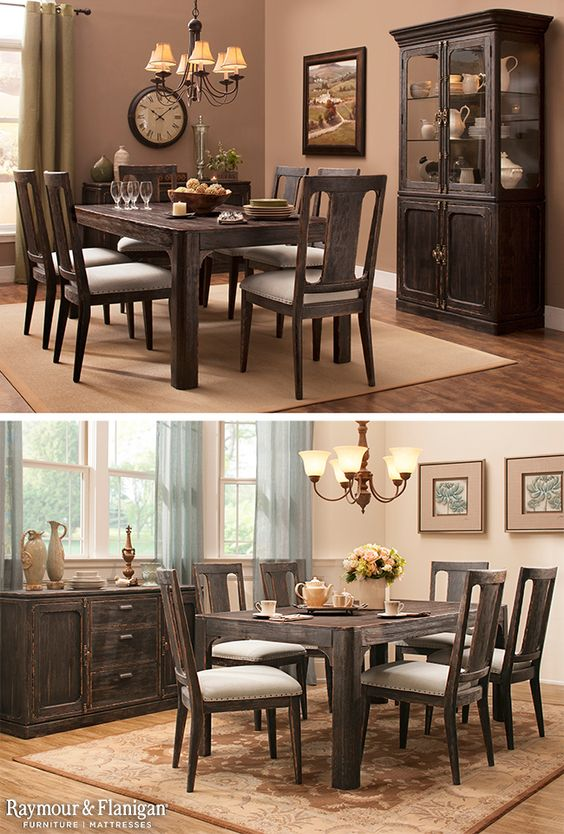 Our new Ardmore Dining Collection has a farmhouse-chic, weathered design that's great for hiding normal wear. It's also available in a 5-piece set!